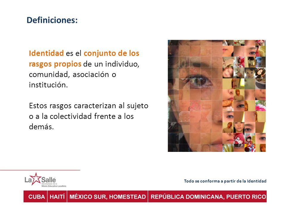 Todo se conforma a partir de la Identidad Definiciones: Identidad es el conjunto de los rasgos propios de un individuo, comunidad, asociación o institución.