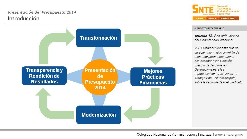 Colegiado Nacional de Administración y Finanzas | www.snte.org.mx Introducción Presentación del Presupuesto 2014 Artículo 75.
