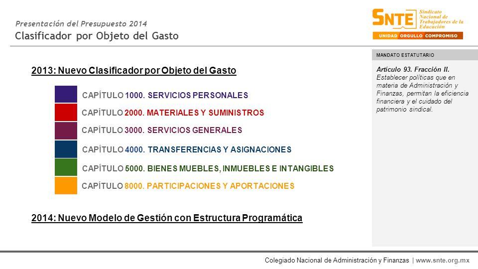 Colegiado Nacional de Administración y Finanzas | www.snte.org.mx Clasificador por Objeto del Gasto Artículo 93.