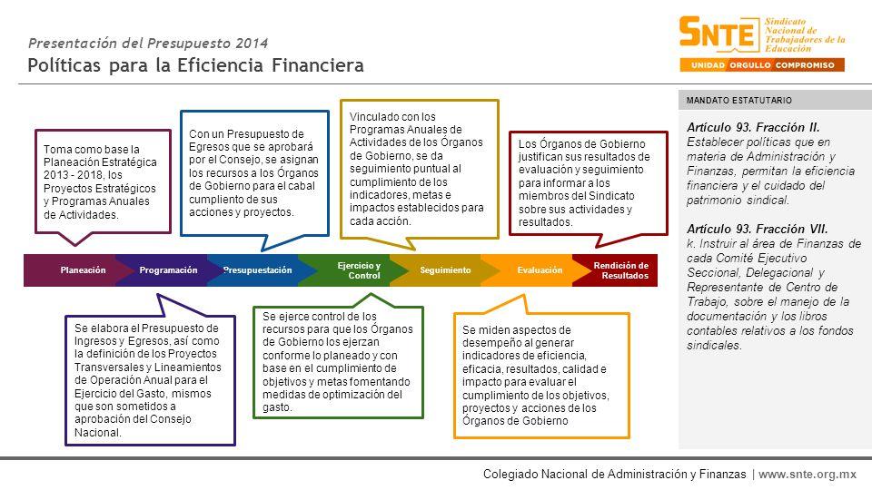 Colegiado Nacional de Administración y Finanzas | www.snte.org.mx Políticas para la Eficiencia Financiera Artículo 93.