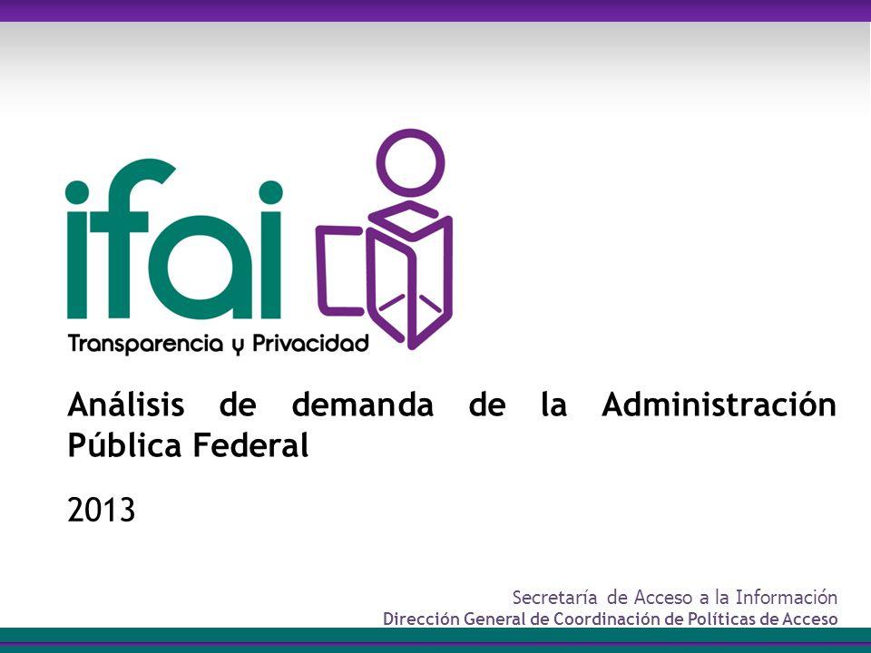 Secretaría de Acceso a la Información Dirección General de Coordinación de Políticas de Acceso Análisis de demanda de la Administración Pública Federal 2013