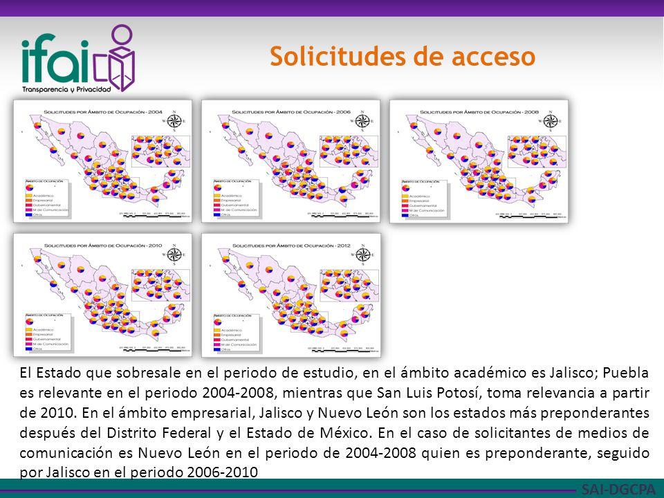 SAI-DGCPA Solicitudes de acceso El Estado que sobresale en el periodo de estudio, en el ámbito académico es Jalisco; Puebla es relevante en el periodo 2004-2008, mientras que San Luis Potosí, toma relevancia a partir de 2010.