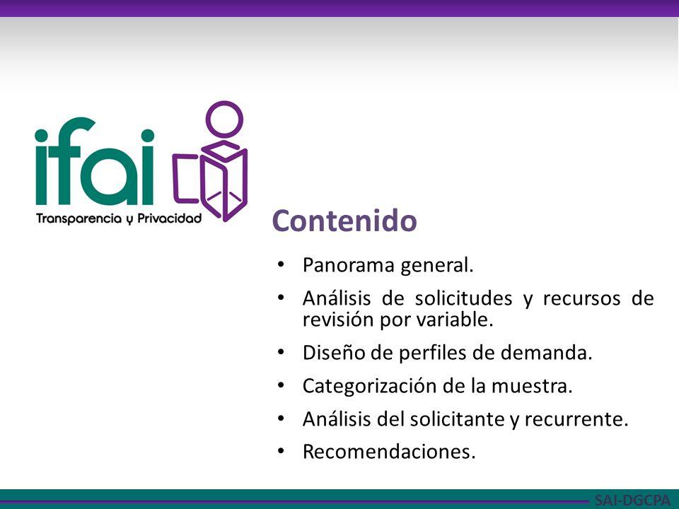 SAI-DGCPA Contenido Panorama general. Análisis de solicitudes y recursos de revisión por variable.