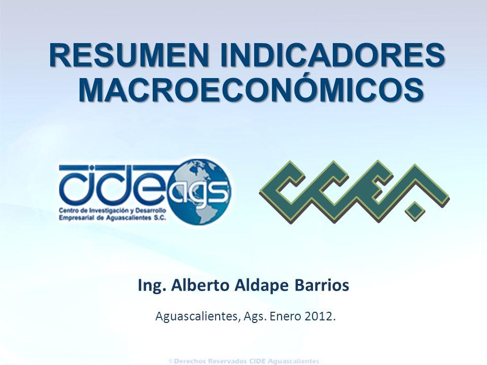 Aguascalientes, Ags. Enero 2012. Ing. Alberto Aldape Barrios RESUMEN INDICADORES MACROECONÓMICOS