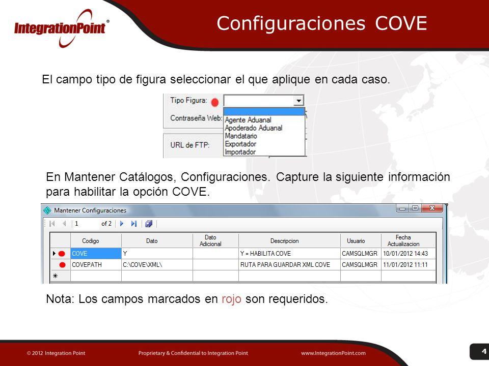Configuraciones COVE El campo tipo de figura seleccionar el que aplique en cada caso. 4 En Mantener Catálogos, Configuraciones. Capture la siguiente i