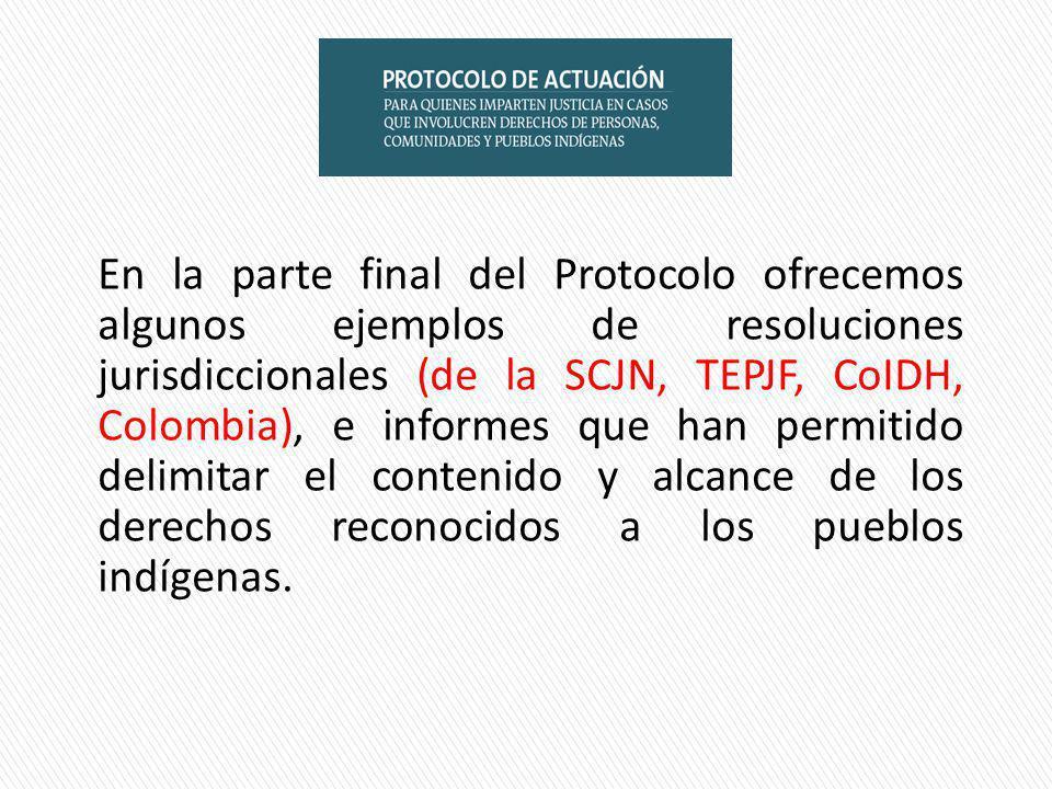 En la parte final del Protocolo ofrecemos algunos ejemplos de resoluciones jurisdiccionales (de la SCJN, TEPJF, CoIDH, Colombia), e informes que han permitido delimitar el contenido y alcance de los derechos reconocidos a los pueblos indígenas.