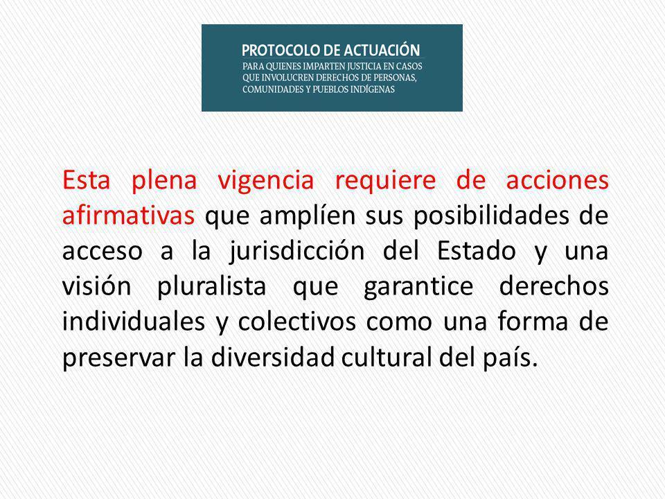Esta plena vigencia requiere de acciones afirmativas que amplíen sus posibilidades de acceso a la jurisdicción del Estado y una visión pluralista que garantice derechos individuales y colectivos como una forma de preservar la diversidad cultural del país.