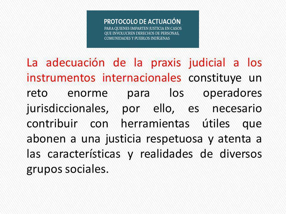 La adecuación de la praxis judicial a los instrumentos internacionales constituye un reto enorme para los operadores jurisdiccionales, por ello, es necesario contribuir con herramientas útiles que abonen a una justicia respetuosa y atenta a las características y realidades de diversos grupos sociales.