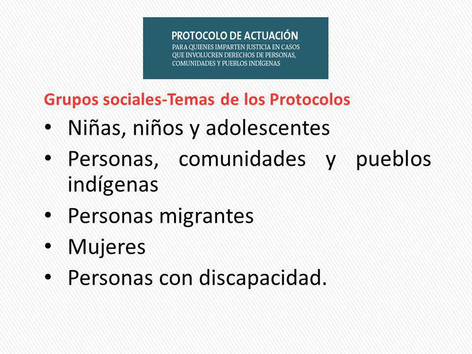 Grupos sociales-Temas de los Protocolos Niñas, niños y adolescentes Personas, comunidades y pueblos indígenas Personas migrantes Mujeres Personas con discapacidad.