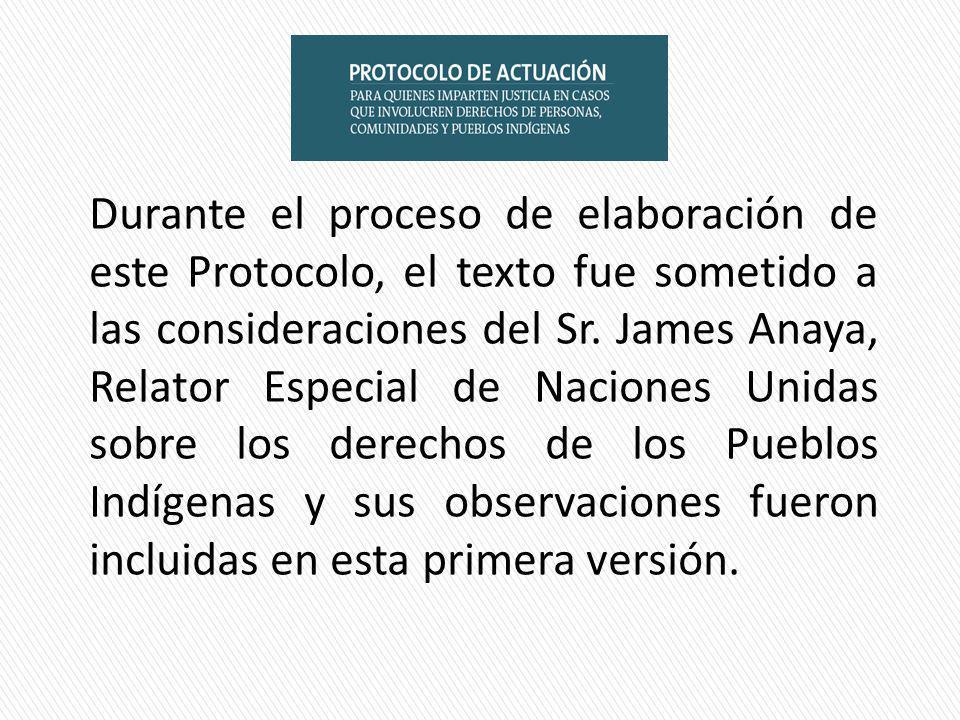 Durante el proceso de elaboración de este Protocolo, el texto fue sometido a las consideraciones del Sr.