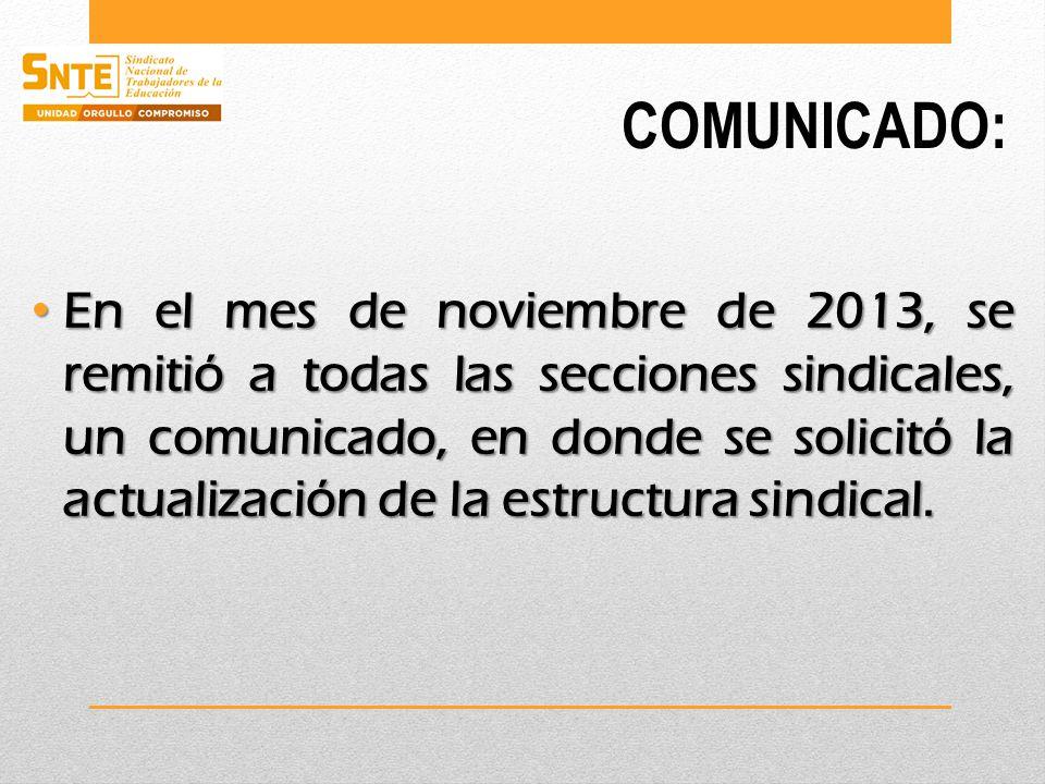COMUNICADO: En el mes de noviembre de 2013, se remitió a todas las secciones sindicales, un comunicado, en donde se solicitó la actualización de la estructura sindical.