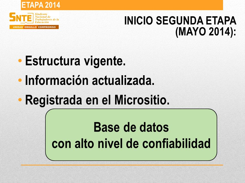 INICIO SEGUNDA ETAPA (MAYO 2014): ETAPA 2014 Estructura vigente.