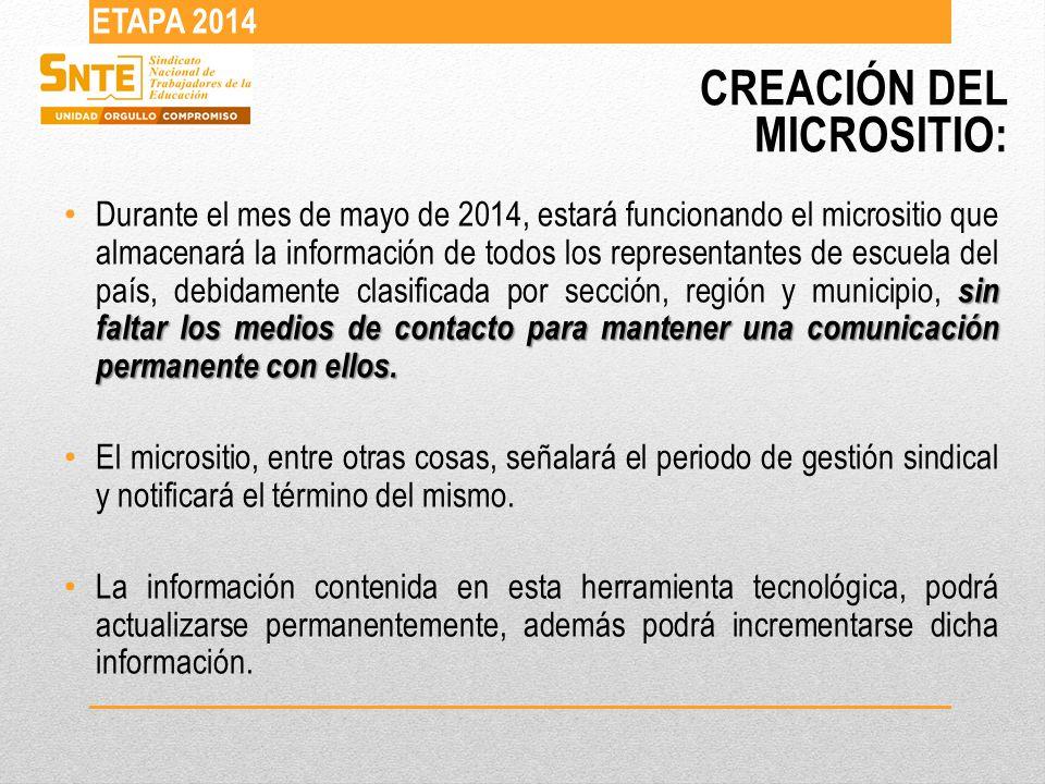 CREACIÓN DEL MICROSITIO: ETAPA 2014 sin faltar los medios de contacto para mantener una comunicación permanente con ellos.