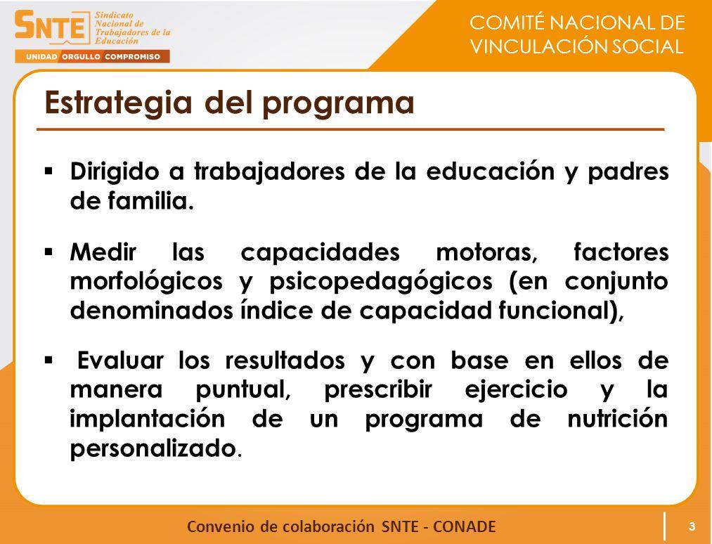 COMITÉ NACIONAL DE VINCULACIÓN SOCIAL Convenio de colaboración SNTE - CONADE Estrategia del programa Dirigido a trabajadores de la educación y padres de familia.