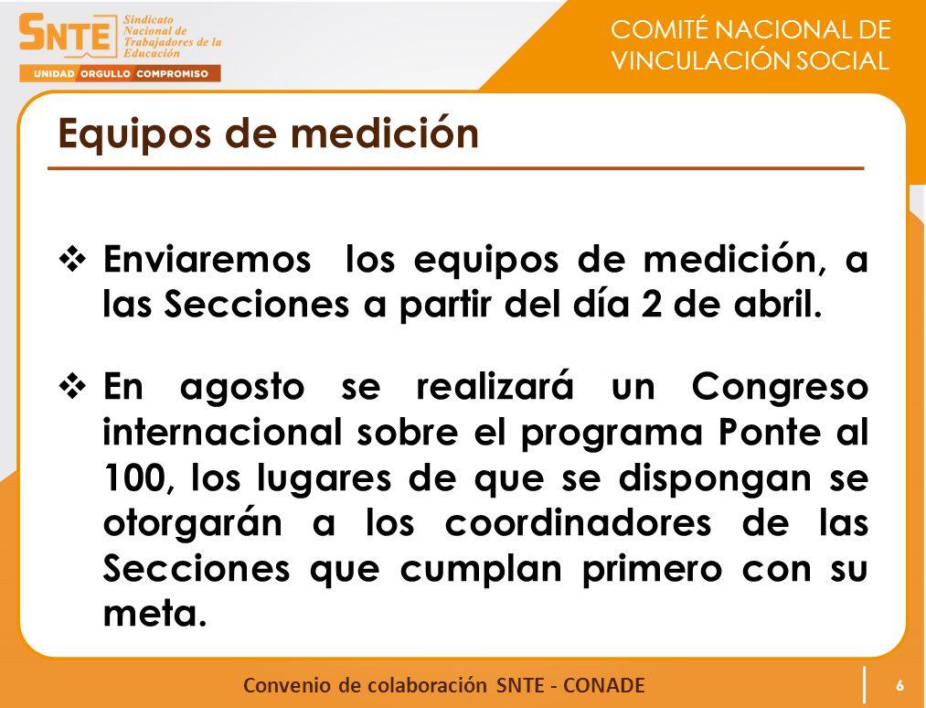 COMITÉ NACIONAL DE VINCULACIÓN SOCIAL Convenio de colaboración SNTE - CONADE Equipos de medición Enviaremos los equipos de medición, a las Secciones a partir del día 2 de abril.