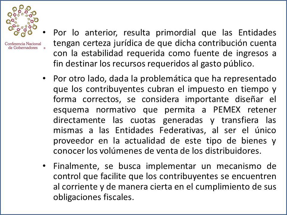 Por lo anterior, resulta primordial que las Entidades tengan certeza jurídica de que dicha contribución cuenta con la estabilidad requerida como fuent
