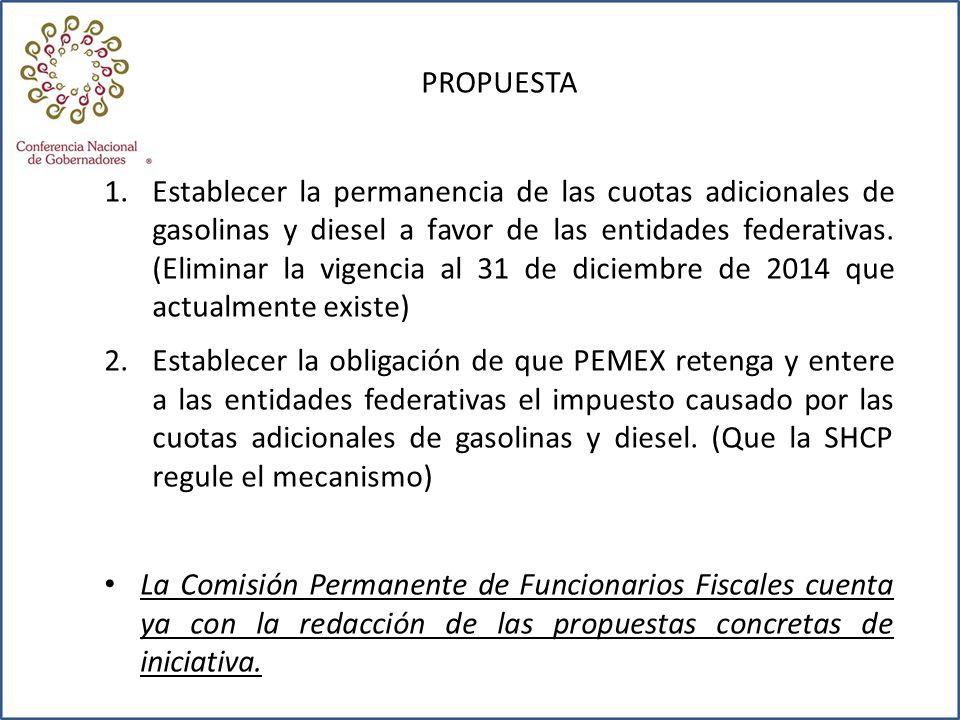 PROPUESTA 1.Establecer la permanencia de las cuotas adicionales de gasolinas y diesel a favor de las entidades federativas. (Eliminar la vigencia al 3