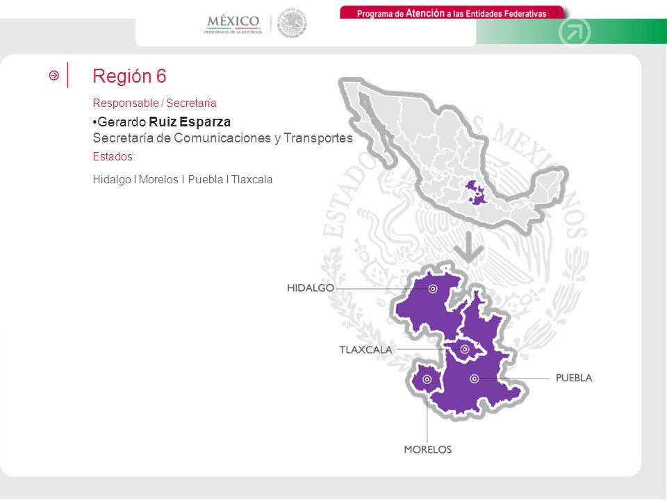 Programa de Atención a las Entidades Federativas Región 6 Responsable / Secretaría Gerardo Ruiz Esparza Secretaría de Comunicaciones y Transportes Est