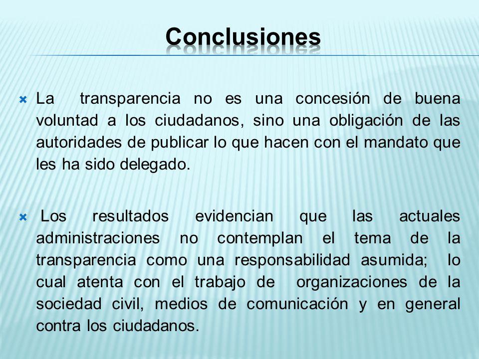 La transparencia no es una concesión de buena voluntad a los ciudadanos, sino una obligación de las autoridades de publicar lo que hacen con el mandato que les ha sido delegado.