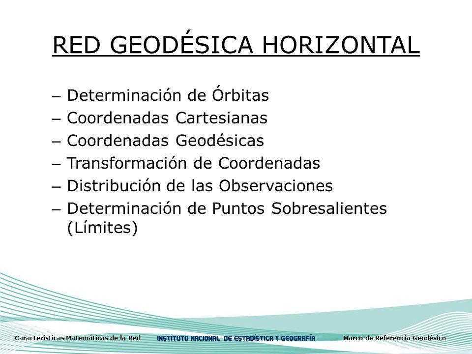RED GEODÉSICA HORIZONTAL – Determinación de Órbitas – Coordenadas Cartesianas – Coordenadas Geodésicas – Transformación de Coordenadas – Distribución de las Observaciones – Determinación de Puntos Sobresalientes (Límites) Características Matemáticas de la RedMarco de Referencia Geodésico