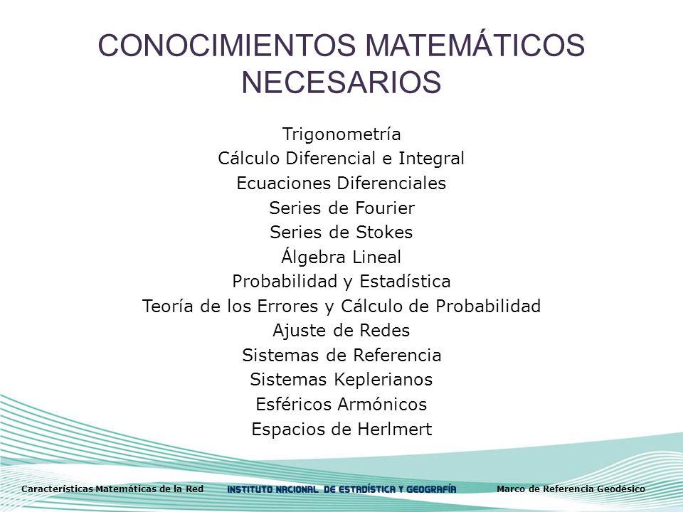 CONOCIMIENTOS MATEMÁTICOS NECESARIOS Trigonometría Cálculo Diferencial e Integral Ecuaciones Diferenciales Series de Fourier Series de Stokes Álgebra Lineal Probabilidad y Estadística Teoría de los Errores y Cálculo de Probabilidad Ajuste de Redes Sistemas de Referencia Sistemas Keplerianos Esféricos Armónicos Espacios de Herlmert Características Matemáticas de la RedMarco de Referencia Geodésico