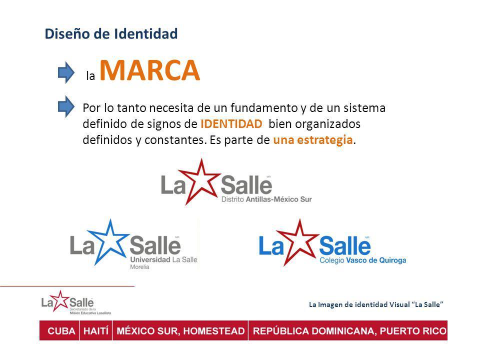 La Imagen de identidad Visual La Salle Diseño de Identidad la MARCA Por lo tanto necesita de un fundamento y de un sistema definido de signos de IDENTIDAD bien organizados definidos y constantes.