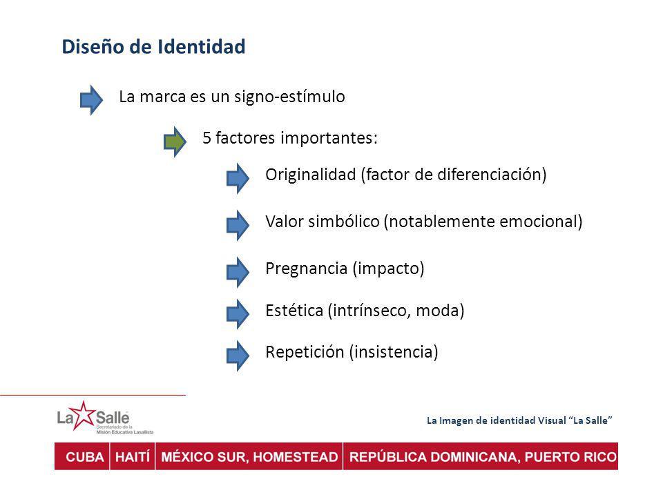 La Imagen de identidad Visual La Salle Diseño de Identidad La marca es un signo-estímulo 5 factores importantes: Originalidad (factor de diferenciación) Valor simbólico (notablemente emocional) Pregnancia (impacto) Estética (intrínseco, moda) Repetición (insistencia)