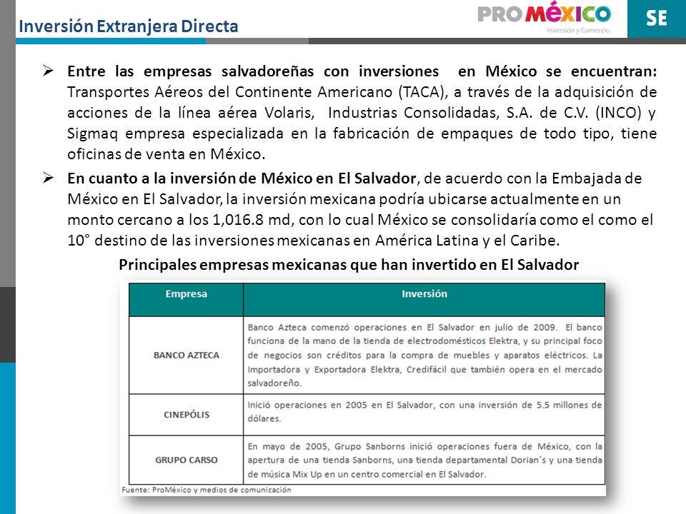 Otras empresas mexicanas que, aprovechando la afinidad cultural y geográfica con Centroamérica, han incursionado a esos países, incluyendo El Salvador destacan: Grupo Zeo, ARNECOM, MASECA, Tropigas, Office Depot, MABE, Sigma Alimentos, Jumex, Teleperformance, Mexicana de Aviación, entre otras.