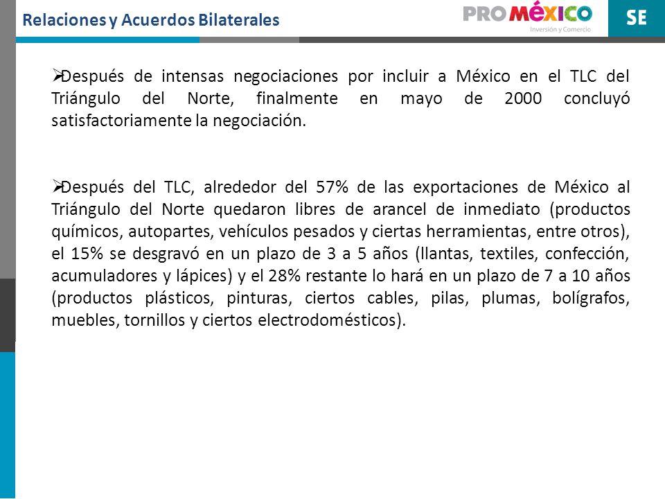 Relaciones y Acuerdos Bilaterales Por su parte, México desgravó a la entrada en vigor del Tratado el 65% de las importaciones que realiza del Triángulo del Norte y el 24% en un plazo de 3 a 5 años.