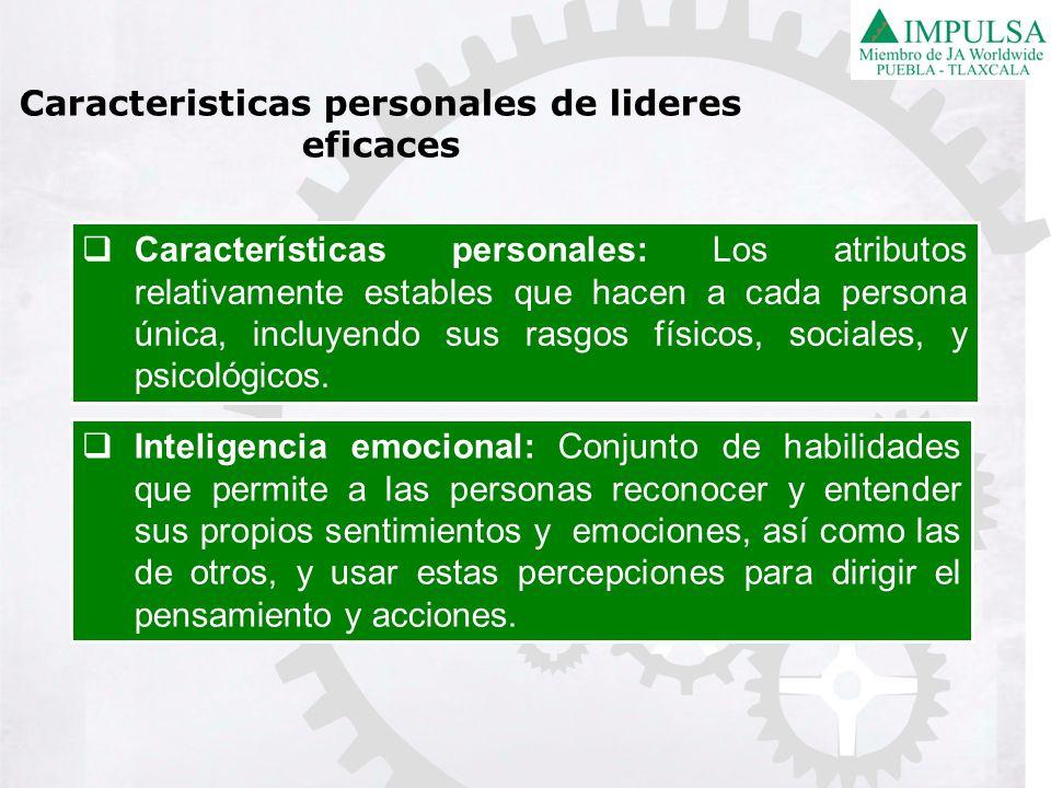 Características personales: Los atributos relativamente estables que hacen a cada persona única, incluyendo sus rasgos físicos, sociales, y psicológic