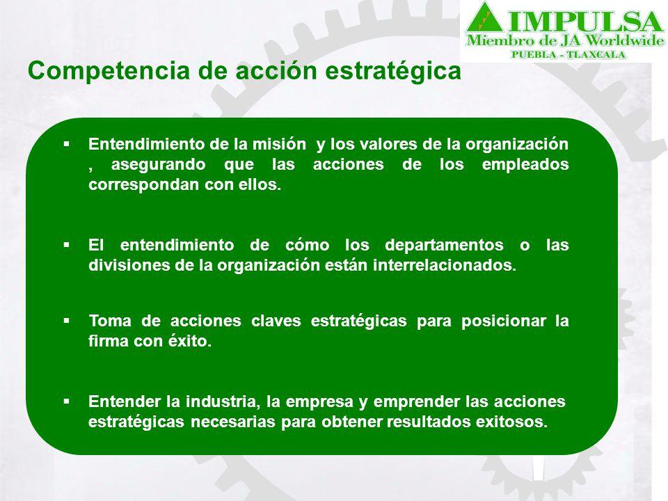Competencia de acción estratégica Entendimiento de la misión y los valores de la organización, asegurando que las acciones de los empleados correspond