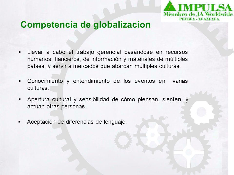Competencia de globalizacion Llevar a cabo el trabajo gerencial basándose en recursos humanos, fiancieros, de información y materiales de múltiples pa