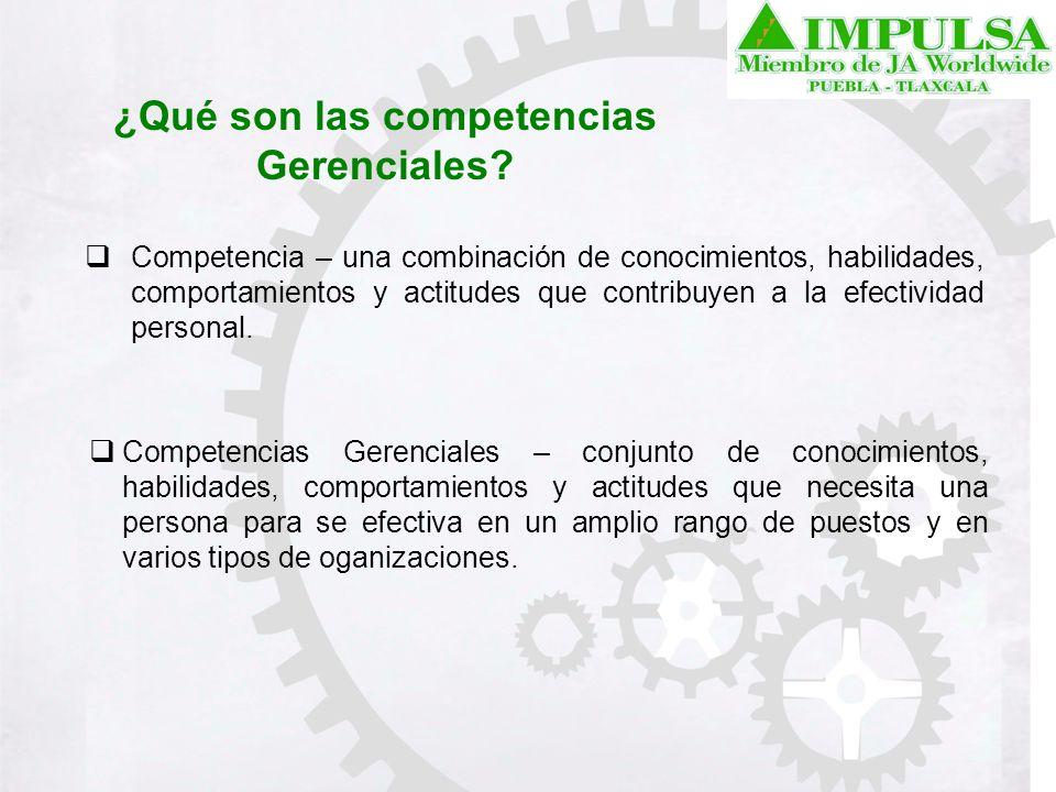 ¿Qué son las competencias Gerenciales? Competencia – una combinación de conocimientos, habilidades, comportamientos y actitudes que contribuyen a la e