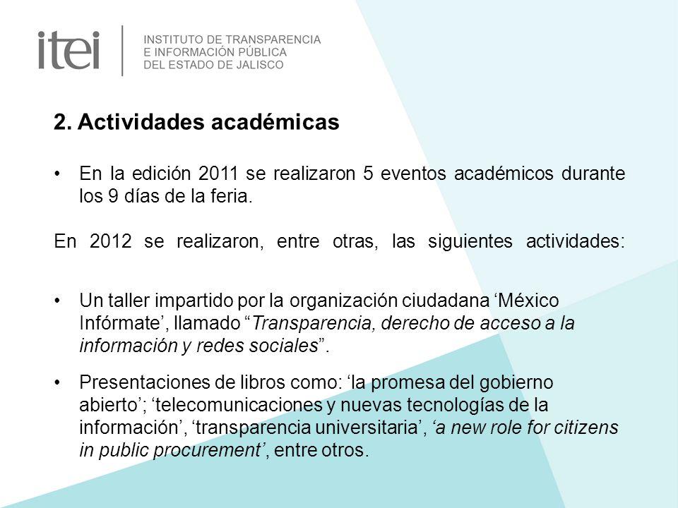 2. Actividades académicas En la edición 2011 se realizaron 5 eventos académicos durante los 9 días de la feria. En 2012 se realizaron, entre otras, la