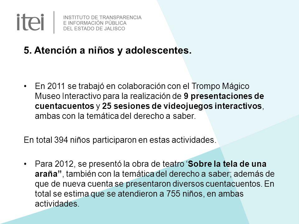 5. Atención a niños y adolescentes. En 2011 se trabajó en colaboración con el Trompo Mágico Museo Interactivo para la realización de 9 presentaciones