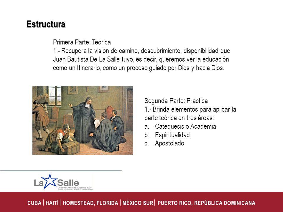 Primera Parte: Teórica 1.- Recupera la visión de camino, descubrimiento, disponibilidad que Juan Bautista De La Salle tuvo, es decir, queremos ver la