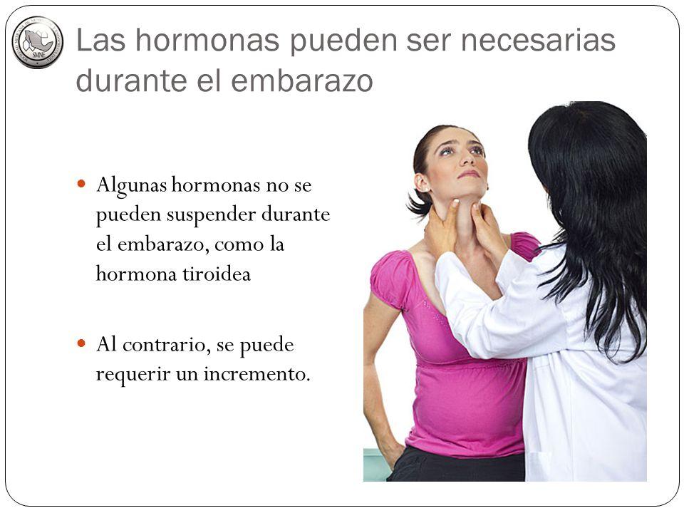Las hormonas pueden ser necesarias durante el embarazo Algunas hormonas no se pueden suspender durante el embarazo, como la hormona tiroidea Al contra