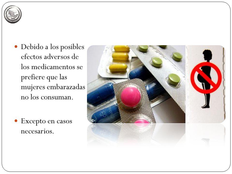 Debido a los posibles efectos adversos de los medicamentos se prefiere que las mujeres embarazadas no los consuman. Excepto en casos necesarios.