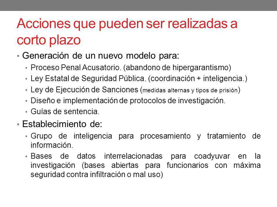 Acciones que pueden ser realizadas a corto plazo Generación de un nuevo modelo para: Proceso Penal Acusatorio. (abandono de hipergarantismo) Ley Estat