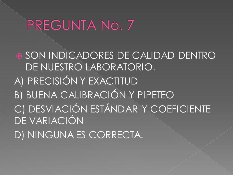 SON INDICADORES DE CALIDAD DENTRO DE NUESTRO LABORATORIO. A) PRECISIÓN Y EXACTITUD B) BUENA CALIBRACIÓN Y PIPETEO C) DESVIACIÓN ESTÁNDAR Y COEFICIENTE