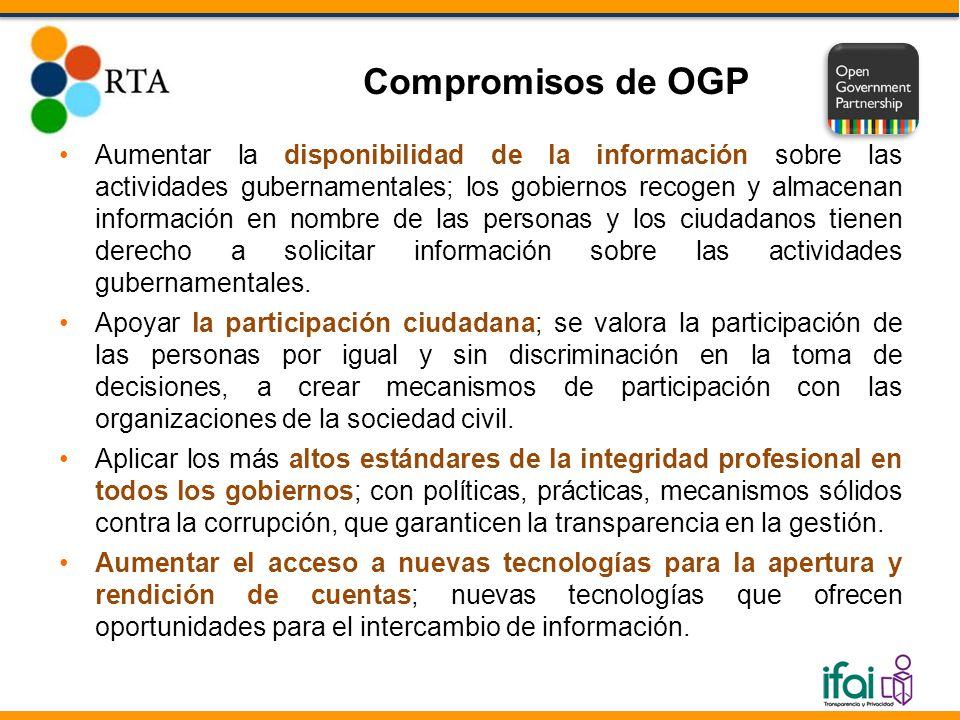 Aumentar la disponibilidad de la información sobre las actividades gubernamentales; los gobiernos recogen y almacenan información en nombre de las per