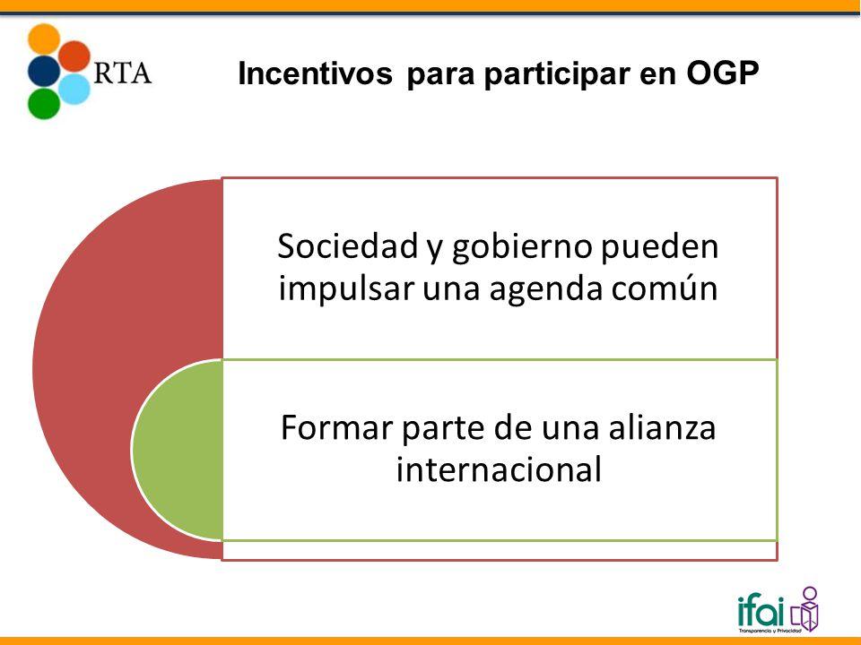 Sociedad y gobierno pueden impulsar una agenda común Formar parte de una alianza internacional Incentivos para participar en OGP