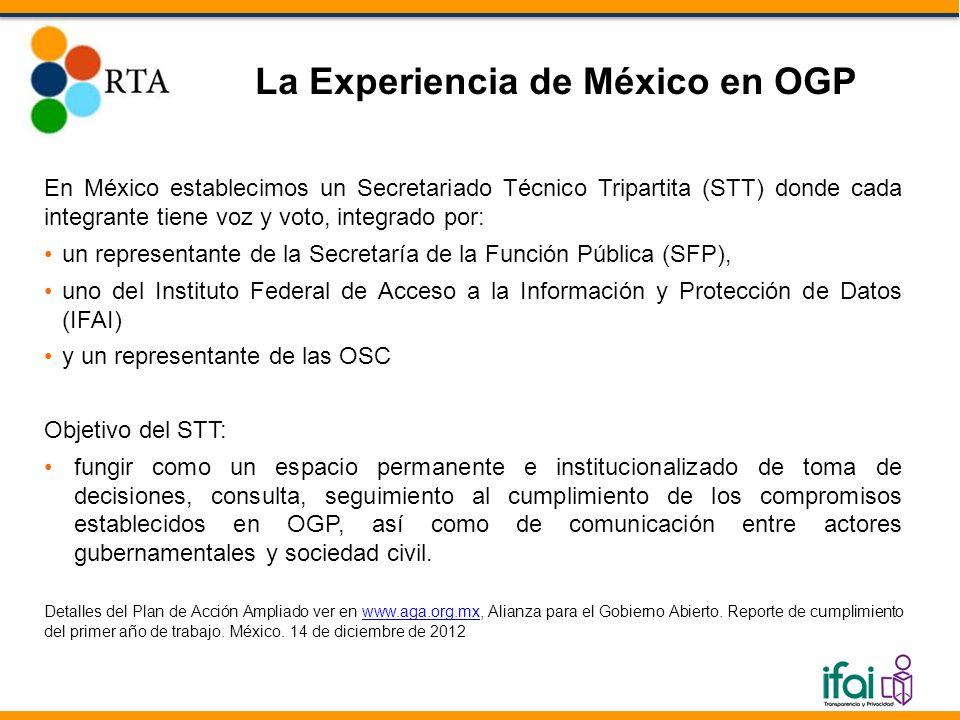 En México establecimos un Secretariado Técnico Tripartita (STT) donde cada integrante tiene voz y voto, integrado por: un representante de la Secretaría de la Función Pública (SFP), uno del Instituto Federal de Acceso a la Información y Protección de Datos (IFAI) y un representante de las OSC Objetivo del STT: fungir como un espacio permanente e institucionalizado de toma de decisiones, consulta, seguimiento al cumplimiento de los compromisos establecidos en OGP, así como de comunicación entre actores gubernamentales y sociedad civil.