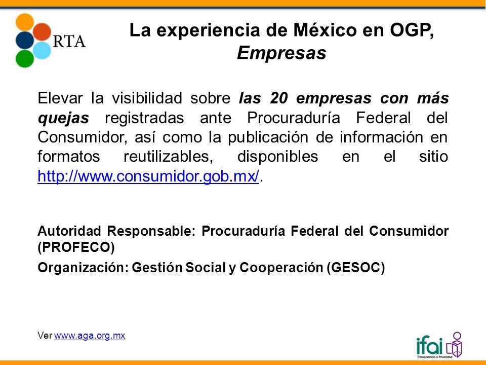 Elevar la visibilidad sobre las 20 empresas con más quejas registradas ante Procuraduría Federal del Consumidor, así como la publicación de información en formatos reutilizables, disponibles en el sitio http://www.consumidor.gob.mx/.