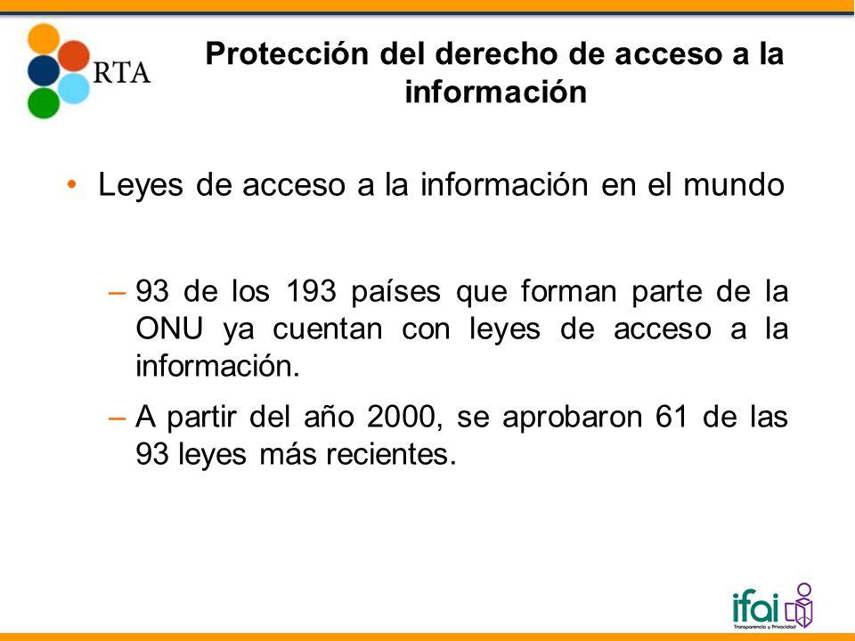 Leyes de acceso a la información en el mundo –93 de los 193 países que forman parte de la ONU ya cuentan con leyes de acceso a la información.