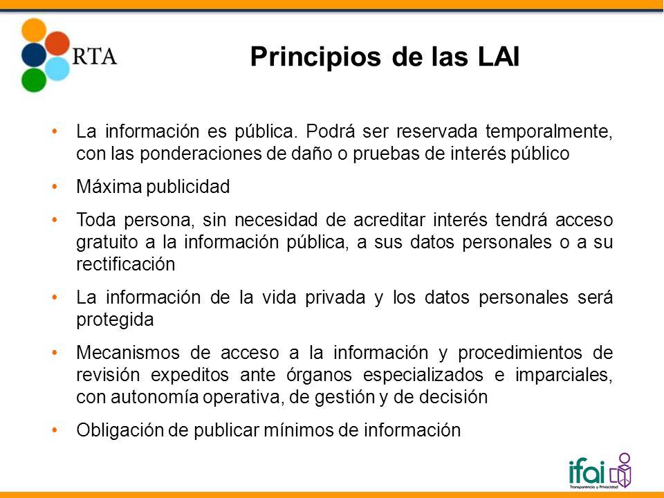 La información es pública. Podrá ser reservada temporalmente, con las ponderaciones de daño o pruebas de interés público Máxima publicidad Toda person
