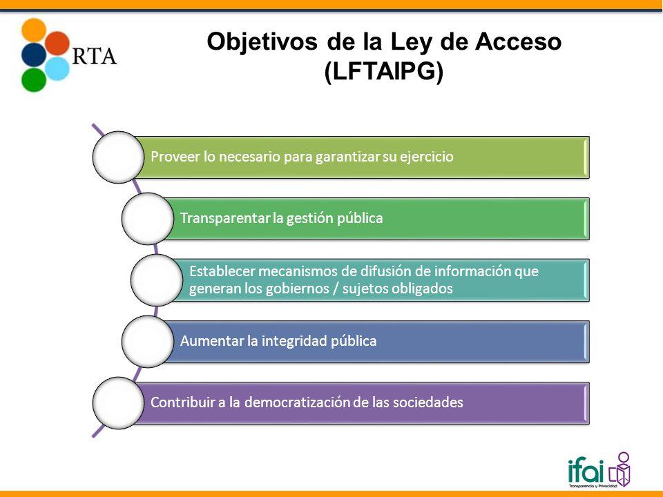 Objetivos de la Ley de Acceso (LFTAIPG) Proveer lo necesario para garantizar su ejercicio Transparentar la gestión pública Establecer mecanismos de difusión de información que generan los gobiernos / sujetos obligados Aumentar la integridad pública Contribuir a la democratización de las sociedades