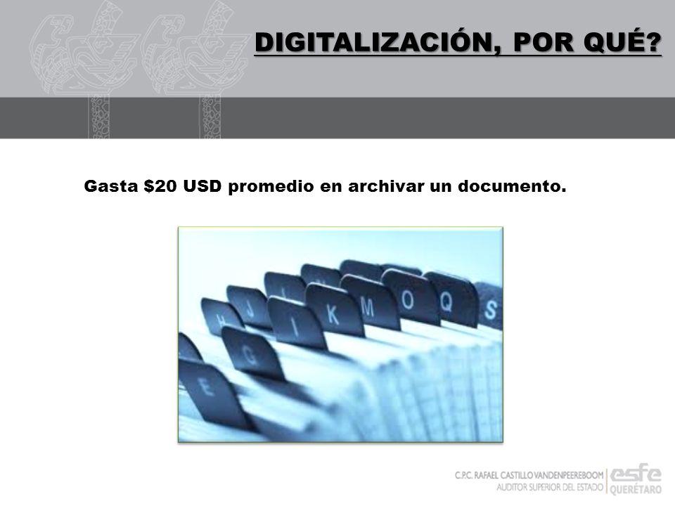 DIGITALIZACIÓN DIGITALIZACIÓN, POR QUÉ? Gasta $20 USD promedio en archivar un documento.