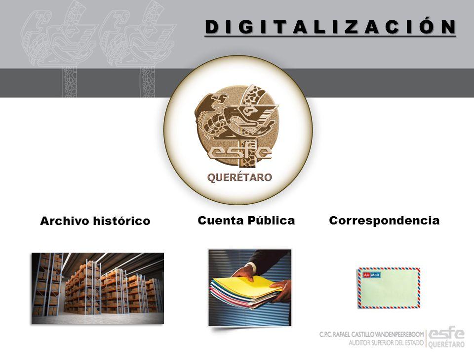 DIGITALIZACIÓN Archivo histórico Cuenta Pública Correspondencia D I G I T A L I Z A C I Ó N