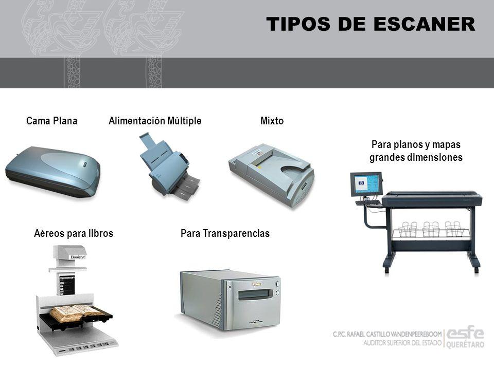 TIPOS DE ESCANER Cama PlanaAlimentación MúltipleMixto Para TransparenciasAéreos para libros Para planos y mapas grandes dimensiones